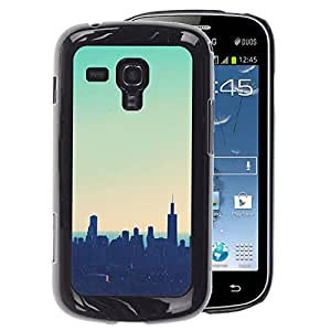 Supergiant (Skyline City Nyc New York Teal Sunset) Impreso colorido protector duro espalda Funda piel de Shell para Samsung Galaxy S Duos S7562
