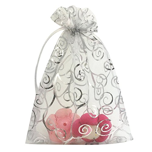 YIJUE 100pcs 5x7 Inches Drawstrings Organza Gift Candy Bags Wedding Favors Bags (White with ()