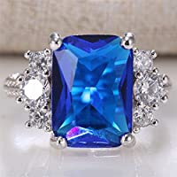 Promsup Ring 925 Silver Huge 8.7CT Princess Cut Natural Tanzanite Wedding Prom Size 6-10 (6)