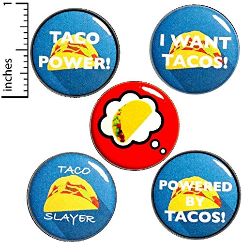 Pinback Button Love (Funny Taco Buttons Pins 5 Pack Cool Backpack Jacket Pinbacks I Love Tacos 1