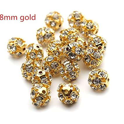 Image Unavailable. Image not available for. Color  30pcs lot 8mm Gold Round  Pave Disco Ball Beads Rhinestone Crystal Spacer Beads for DIY 75e619b8f511