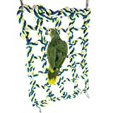 Bird Climbing Ladder Net Hammock Bed Toy for Pet Parrot Budgie Parakeet Cockatiel Conure Lovebird Finch Canary Cockatoo African Grey Amazon Small Animal Hamster Chinchilla Cage Perch Stand