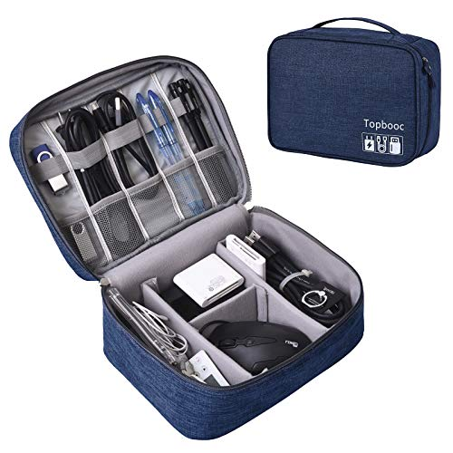 Universal Electronics Accessories Organizer, Waterproof Portable Cable Organizer Bag,Travel Gear Carry Bag for Cables,8 inches Tablet,Charger, E-Book Kindle,Digital Camera (L, Fancy-Blue)