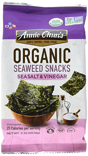 (Annie Chun's Organic Seaweed Snacks, Sea Salt & Vinegar, 0.35 oz (Pack of 12), America's #1 Selling Seaweed Snacks)