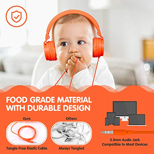 ONTA gorsun Foldable On Ear Audio Adjustable Lightweight Headphone for chlidren Cellphones Smartphones iPhone Laptop Computer Mp3/4 Earphones (Orange) by ONTA (Image #6)