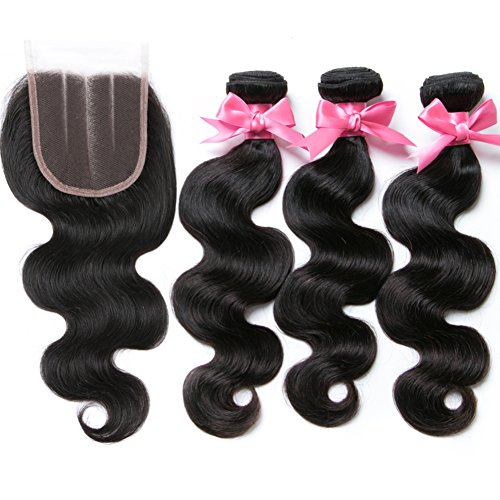 Free Queen 8A Brazilian Virgin Hair 3 Bundles with Closure Body Wave 100% Unprocessed Human Hair Weave With Lace Closure … (18'' 20'' 22''+16''closure, Three Part) by Free Queen (Image #2)
