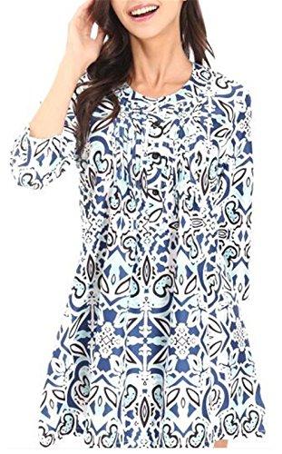 Blouse Simple Bleu2 Fashion Fashion Long 4 Kilt Rond Tunique Femme Casual 3 Chemisiers Bouton avec Tops Hauts Manches Col Jeune T Shirt Imprim BBqwPrdp