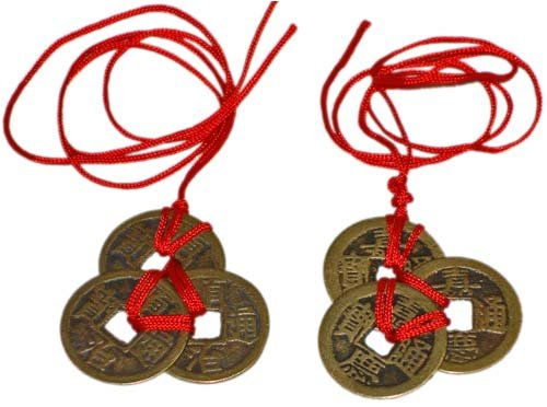 Jugtech Chinese Feng Shui Coins for Wealth and Success - 2 Sets of 3 -