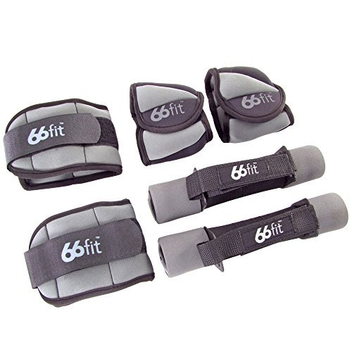 66fit Ankle/Wrist and Dumbbell Weight Set 6 Pieces - Grey/Black by 66fit Limited