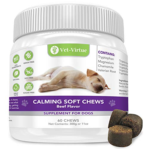 Calming Treats for Dogs- Soft Chew Formula with Organic Hemp Oil for Dogs, Easy Consumption and Great Tasting with Organic Chamomile and Valerian Extract