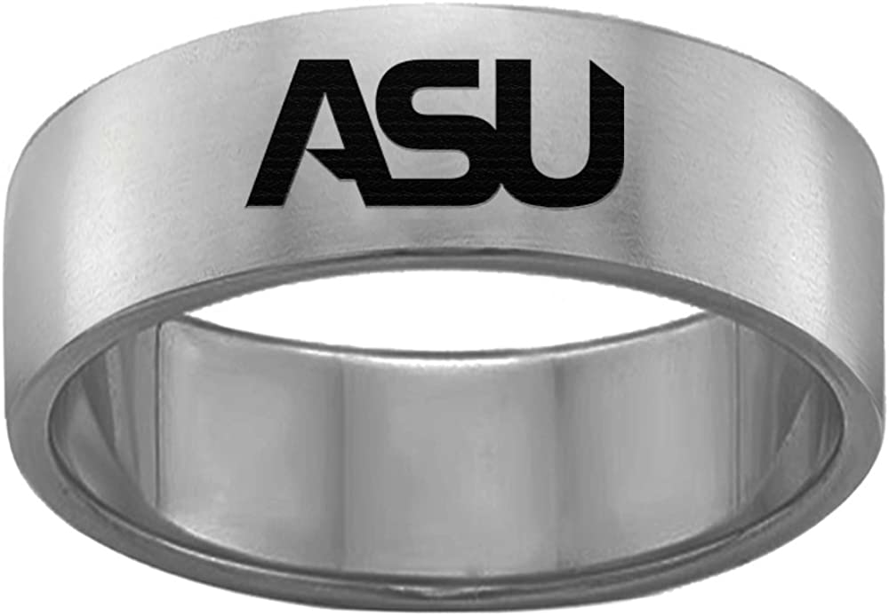 Single Logo Alabama State Hornets Rings Stainless Steel 8MM Wide Ring Band Size 6