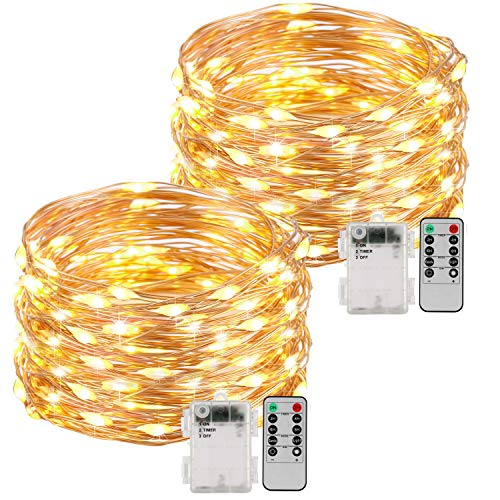 Kohree Battery Operated String Light 20ft 120 LEDs Copper Wire, Waterproof Design Decor Rope Lights for Festival, Wedding, Holiday and Party with Remote Control 2 Pack