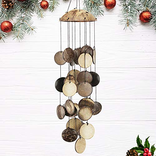 ASTARIN Coconut Shell Wind Chimes Outdoor, Capiz Shell Wind Chimes Outdoor, Perfect Decoration