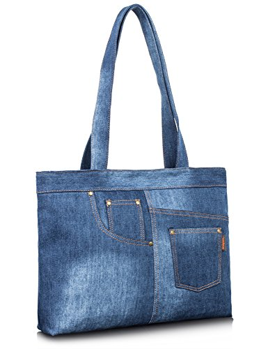 Leaper Denim Tote Bag for Women Fashion Handbag Beach Bag Single Shoulder Bag (Denim-Light Blue) Jean Handbag Purse