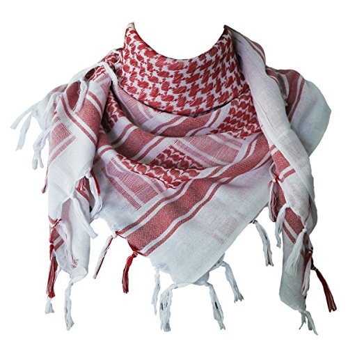 Explore Land 100% Cotton Military Shemagh Tactical Desert Keffiyeh Scarf Wrap (Red and White) (Sand Shemagh)