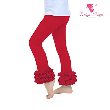 Kaiya Angel Girl Ruffle Leggings Baby Ruffle Pants Solid Color Cotton For Winter 2-9 Year(red) (90)