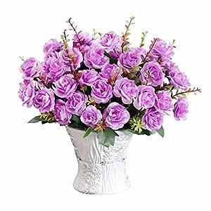 SituMi Artificial Fake Flowers Emulation Rose Camellia Ceramic Vases Home Decor Ornaments,Purple 75