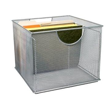 Perfect Design Ideas Mesh File Box, Silver