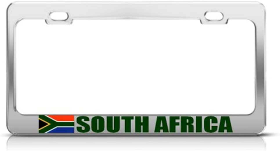 Speedy Pros Metal License Plate Frame South Africa African Flag Country Car Accessories Chrome 2 Holes