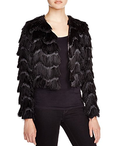 MILLY Women's Zig-Zag Metallic Fringe Bolero Jacket Black Size Small