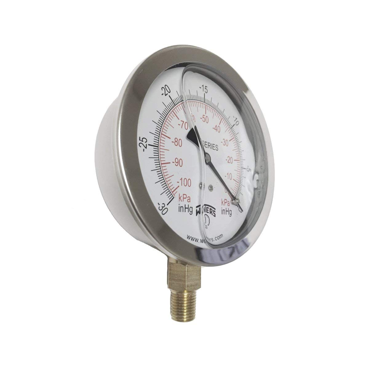 "Winters PFQ Series Stainless Steel 304 Dual Scale Liquid Filled Pressure Gauge with Brass Internals, 30"" Hg Vacuum-0-30 psi/kpa,4"" Dial Display, +/- 1.5% Accuracy, 1/4"" NPT Bottom Mount"
