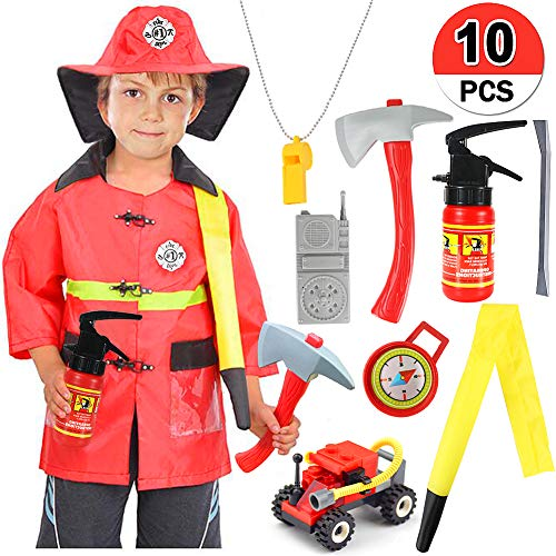 Qunan Fireman Costume Fire Chief Dress Up Pretend Role Play Kit Set with Rescue Tools Fire Fighter Outfit Fireman Toys Halloween Costume for Kids Boys Toddler Children -
