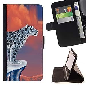 Momo Phone Case / Flip Funda de Cuero Case Cover - Nieve Arte leopardo del gato grande hermoso Dibujo Salvaje - MOTOROLA MOTO X PLAY XT1562