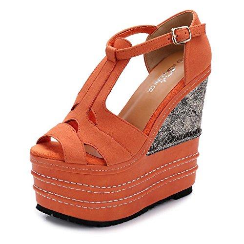 LvYuan Sandalias del verano de las mujeres / oficina y carrera / talón ultra atractivo / plataforma impermeables / talón de cuña / hebilla del pío-dedo del pie / estilo nacional bohemio Orange