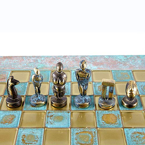 Cycladic Art Chess Set – Bronze Material – Blue Oxidized Chess Board