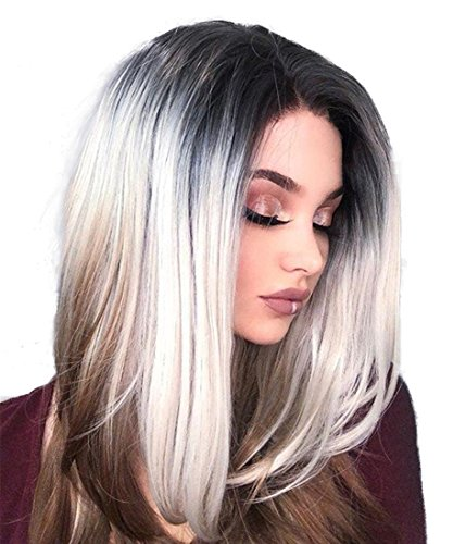 (UniWigs Bambi Synthetic Lace Front Wigs, Ombre Color Silver to Chocolate)