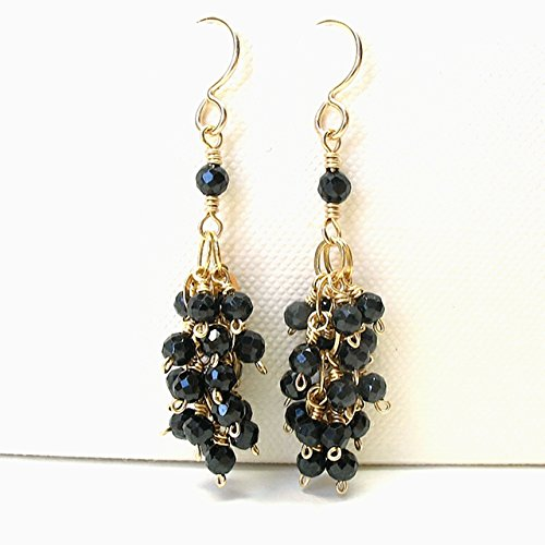 - Black Spinel Genuine Gemstone Cluster Earrings 14K Gold Filled