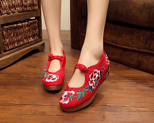 Mn bordado Zapatos, lino, tendón suela, Ethnic estilo, mayor zapatos, moda femenina, cómodo, Casual rojo