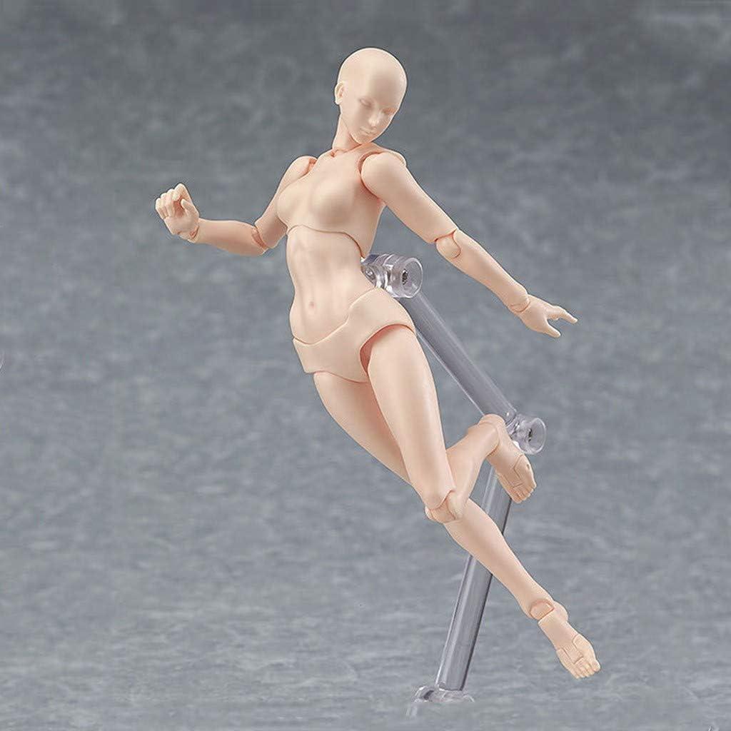 HimTak Human Mannequin Action Figure Model Human Manikin Wood Manikin Body Doll for Artists Gray