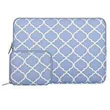 Mosiso Quatrefoil Style Canvas Fabric Laptop Sleeve Bag Cover for 13-13.3 Inch MacBook Pro, MacBook Air, Notebook with a Small Case, Serenity Blue