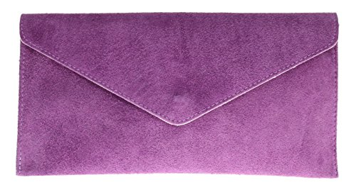 Rebecca Envelope Verapelle Genuine Prom Suede Brand Purse Party Purple Handbag Bag Clutch Shaped Italian Large PFfdq
