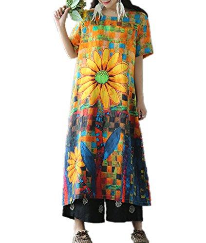 Silk Linen Pants - YESNO E42 Women Long Loose colorful Dress 100% Linen Casual Floral Printed 'A' Line Crew Neck Short Sleeve Summer Beach