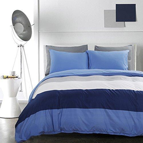 Duvet Microfiber - Vaulia Lightweight Microfiber Duvet Cover Set, Bold Stripes Pattern, Reversible Color Design - King Size