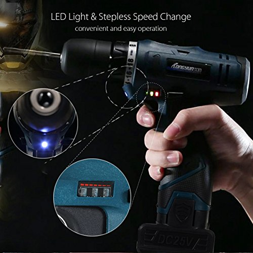 Farway Li-Ion Cordless Electric Drills Hammer Power 25V Driver Hand Kit 2 Speed LED by Farway (Image #3)
