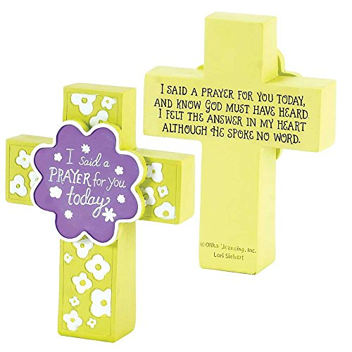 I Said a Prayer for You Today Yellow Purple 5 Inch Resin Double Sided Tabletop Cross