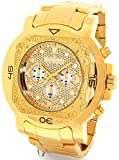 JOJINO Real Diamond Watch Mens Deluxe Gold Tone Case Metal Band MJ-1223