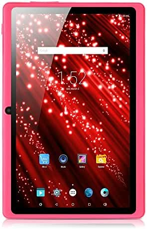 [GMS Certified by Google] iRULU 7'' Tablet - Android 4.4, Quad Core, HD 1024x600, Dual Camera, Wi-Fi, 8GB, 3D Game Supported,7inch tablet -- Pink