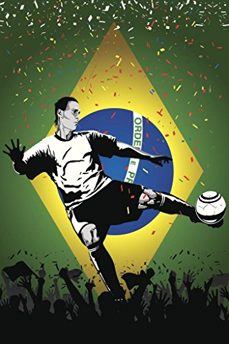 Poster Foundry Brazil Soccer Player Sports Stretched Canvas Wall Art 16x24 inch