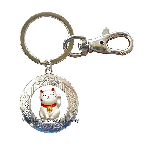 Silver Maneki Neko Lucky Cat Locket Keychain,Pewter Maneki Neko Charm Locket Keychain,Welcoming Cat Locket Keychain, Chinese Lucky Cat Locket Keychain,PU011 (Silver)