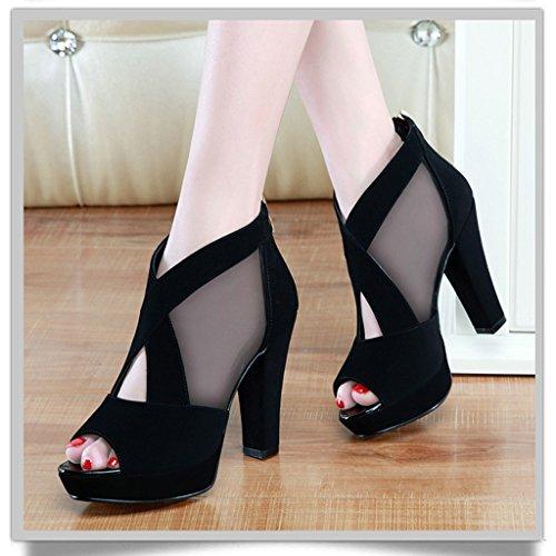 tacón primavera pescado Color baja Sandalias para alto Zapatos mujer 35 de de boca de tacón Azul de femenina aguja Sandalias Negro de de HWF profundidad Tamaño de wzqUXBRw