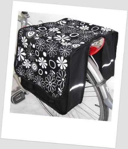 TJ-L-12 Fahrradtasche JENNY LONG Flower RED Satteltasche Gepäckträgertasche 2 x 14 Liter Blumen ROT