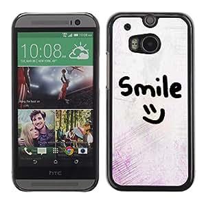 Sonrisa motivación sonriente del Emoticon - Metal de aluminio y de plástico duro Caja del teléfono - Negro - HTC One M8