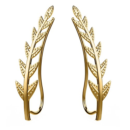 Feramox Ear Crawler Cuff Earrings Sterling Silver Ear Climber Studs Olive Leaf (Gold Leaf Earrings)