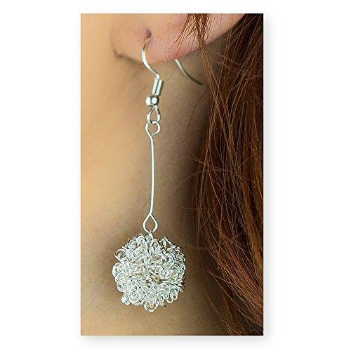 (Silver Long Dangle Earrings Ball Thread Ear Studs Crawler Earrings Cuff Climber Pierced Jewelry)