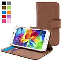 Galaxy S5 Case, Snugg™ - Leather Wallet Case with Lifetime Guarantee (Distressed Brown) for Samsung Galaxy S5