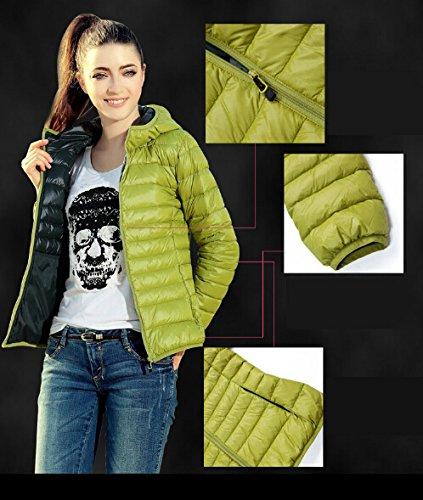 Qumei invierno de las mujeres Abrigo caliente delgada capa de la chaqueta delgada del color del caramelo de Down Green